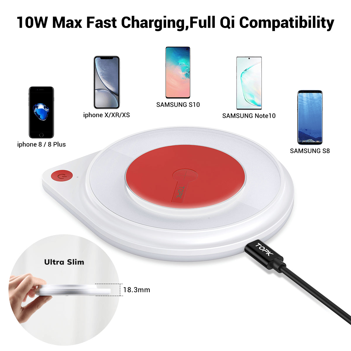 Fast Wireless Charger 10W for iPhone 11 XR X Max Pro 8 Plus Samsung S10 S9 S8 Pic6
