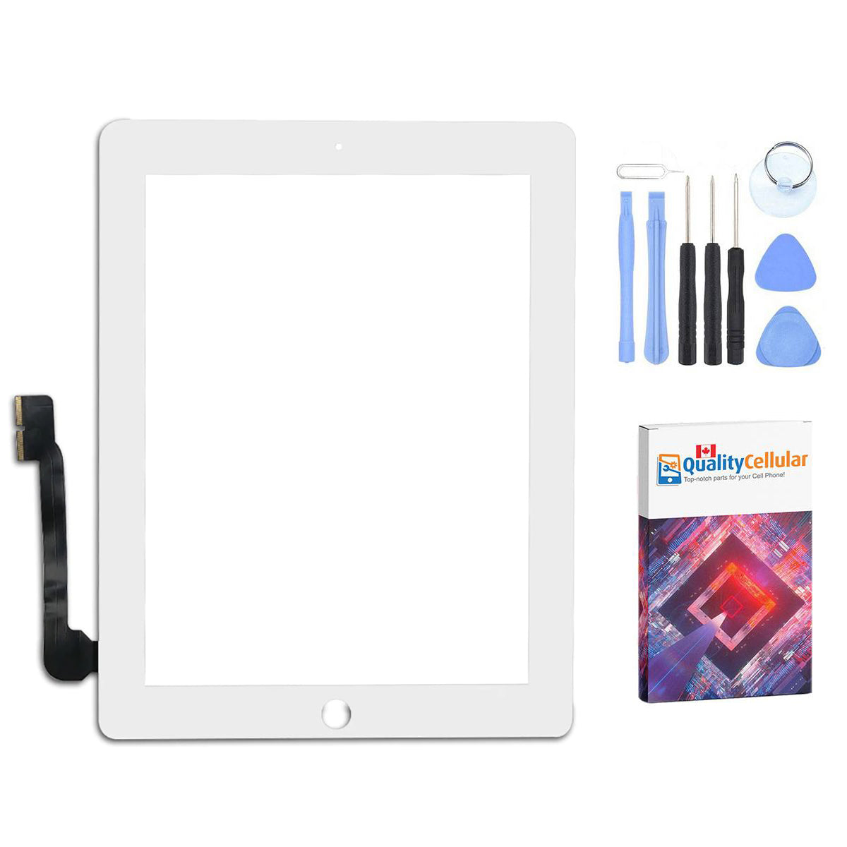 Apple iPad 3 / iPad 4 Touch Screen Glass Display Digitizer with tools - White Main
