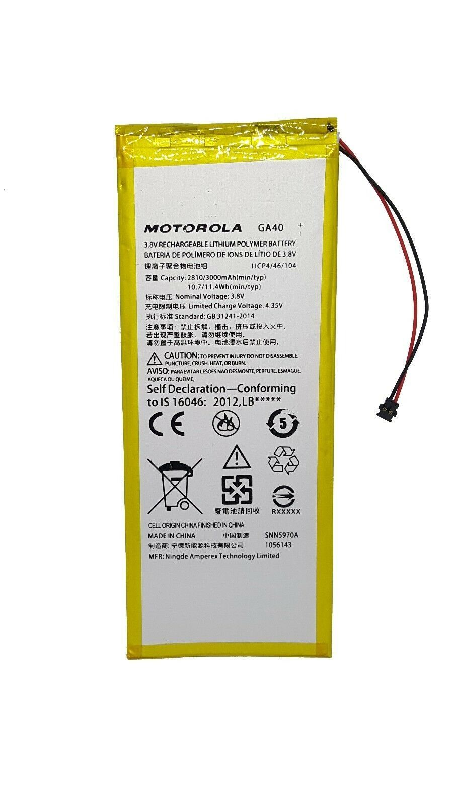 Original Motorola GA40 3000 mAh Battery for Moto G4 XT1622 XT1625 G4 Plus XT1644 Pic0