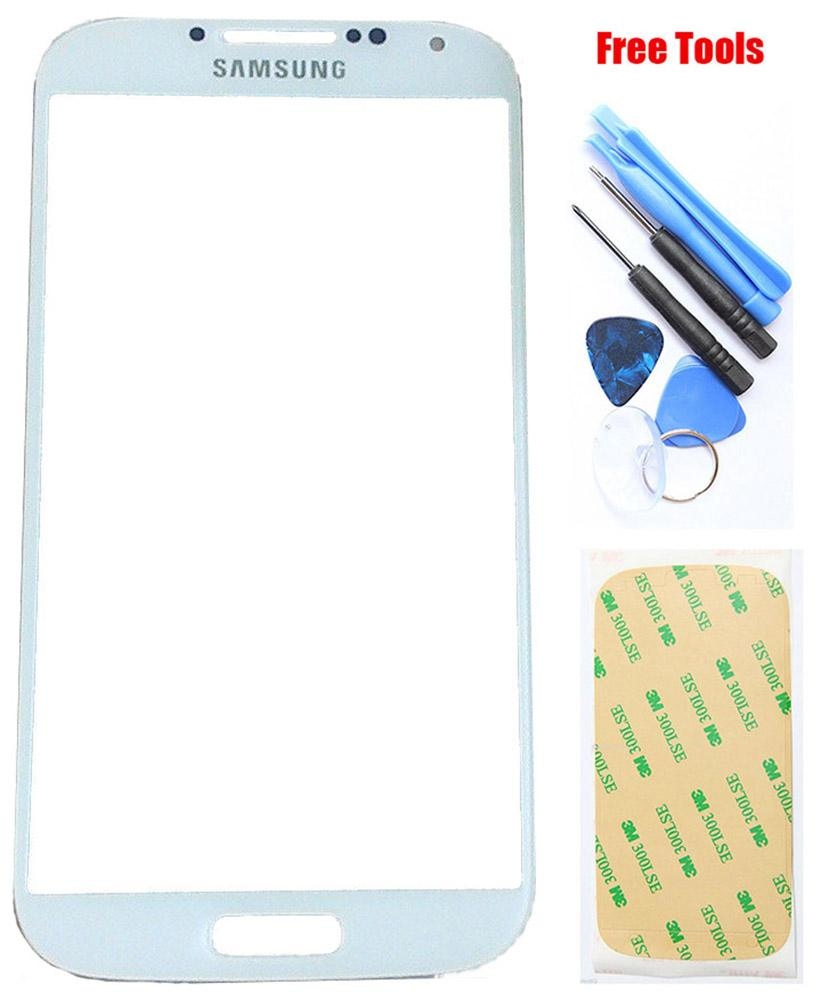 Samsung Galaxy S4 White Front Glass Lens with Adhesive and Free Tools Pic0
