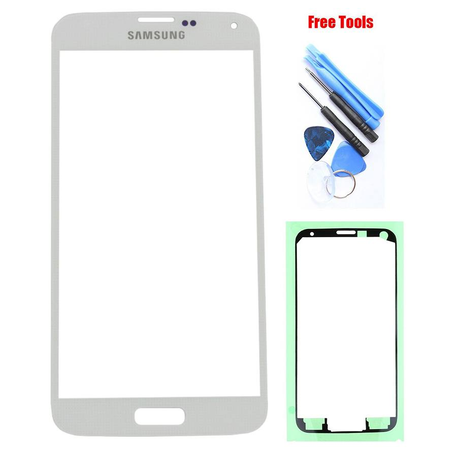 Samsung Galaxy S5 White Front Glass Lens with Adhesive and Free Tools Pic0