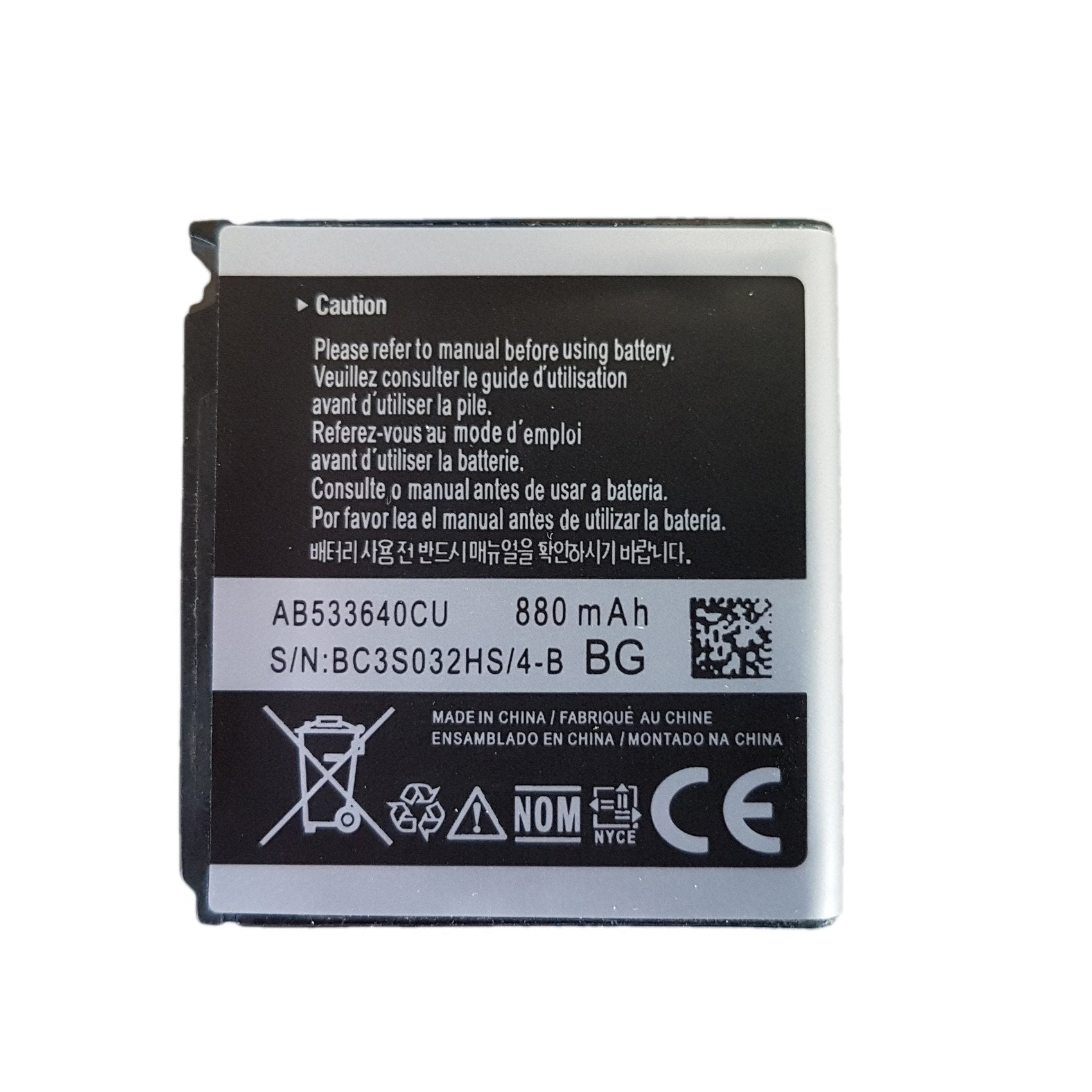 Original Samsung Battery AB533640CU 880 mAh for Helio Mysto SPH-A523, SGH-S366 Pic0