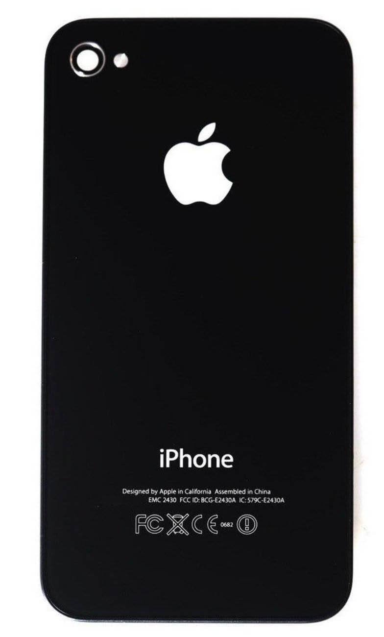 Black Glass Back Battery Door Cover with Pentalobe for iPhone 4S A1387 A1431 Pic1