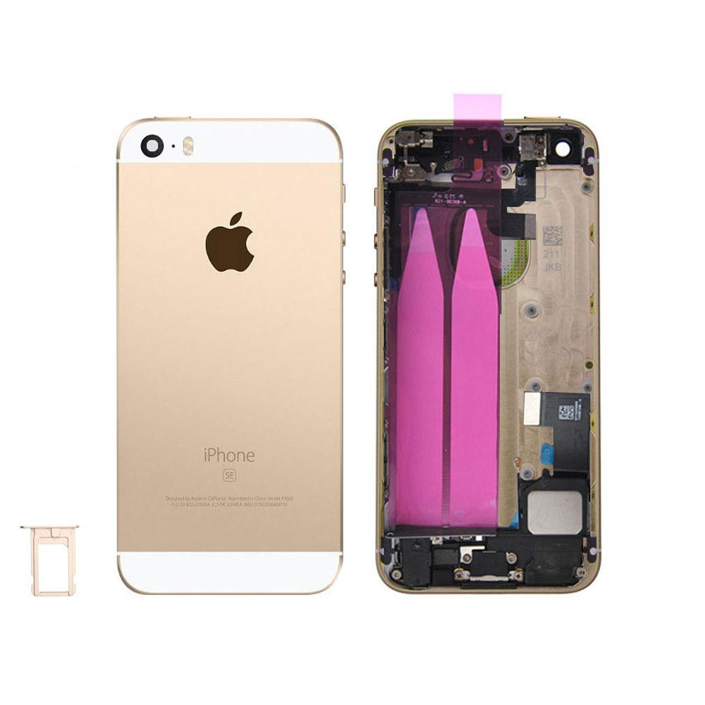 Gold Back Housing Mid Frame with Cables, Parts for iPhone SE A1662 A1723 A1724 Pic0