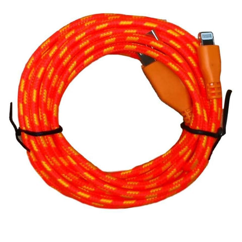 10ft (3M) 8 pin Round Braided USB Data Sync Charge Cable for iPhone iPad iPod - Orange - Charging Cables