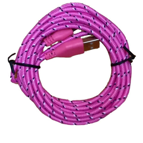 10ft (3M) 8 pin Round Braided USB Data Sync Charge Cable for iPhone iPad iPod - Pink - Charging Cables