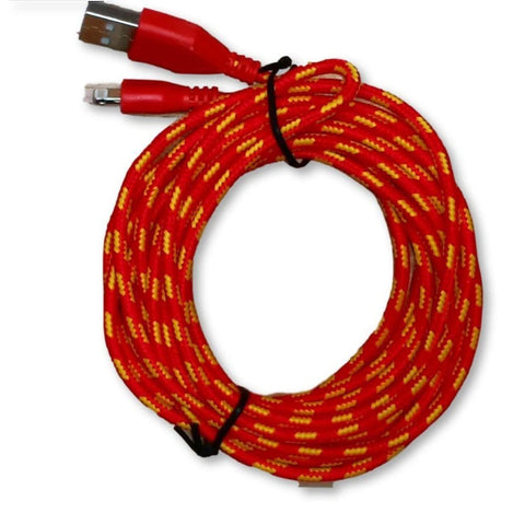 10ft (3M) 8 pin Round Braided USB Data Sync Charge Cable for iPhone iPad iPod - Red - Charging Cables