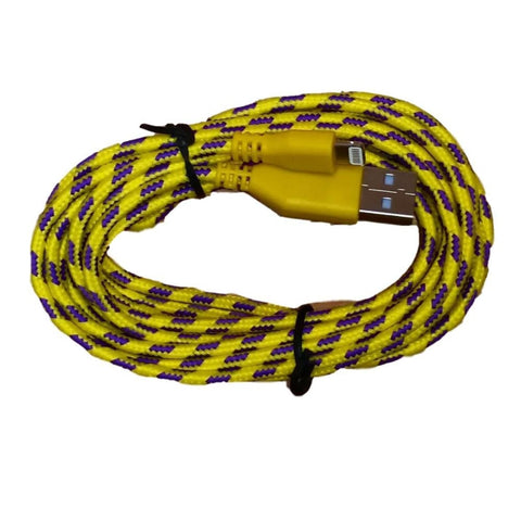 10ft (3M) 8 pin Round Braided USB Data Sync Charge Cable for iPhone iPad iPod - Yellow - Charging Cables