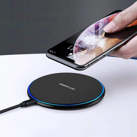 Image of 15W Fast Qi Wireless Charger For iPhone 11 X XR XS Samsung Note 10 9 S8 S9 S10 - Black 15W Type C - Wireless Chargers