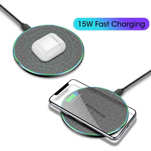 Image of 15W Qi Fast Wireless Charger iPhone 11 Pro XS Max X XR Samsung S10 S9 Note 10 9 - 15W Type C - Wireless Chargers