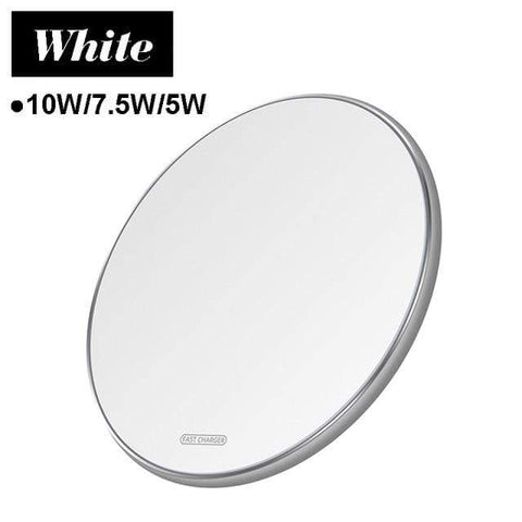 Image of 15W Quick Qi Wireless Charger Pad for Samsung Note 10 9 S10 S9 S8 iPhone Airpods - 10W White Micro USB - Wireless Chargers