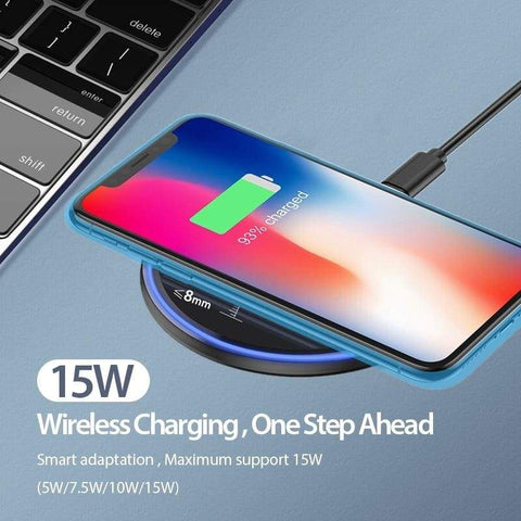 Image of 15W Quick Qi Wireless Charger Pad for Samsung Note 10 9 S10 S9 S8 iPhone Airpods - Wireless Chargers