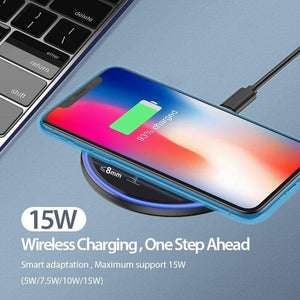 15W Quick Qi Wireless Charger Pad for Samsung Note 10 9 S10 S9 S8 iPhone Airpods - Wireless Chargers