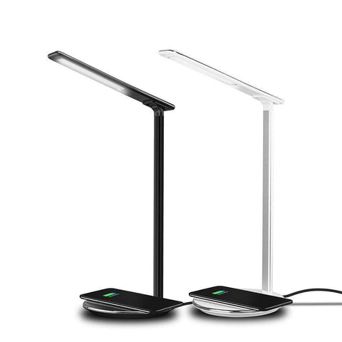 2 In 1 LED Desk Lamp Night Light Qi Fast Wireless Charger 10W for iPhone Samsung - White / With QC 3.0 EU Plug - Wireless Chargers