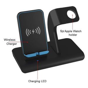 2 in 1 Qi 10W Fast Wireless Charger Stand for iPhone Airpods Apple Watch iWatch - Wireless Chargers