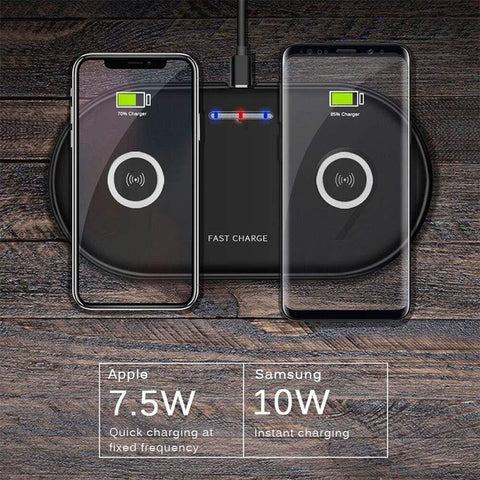 Image of 20W 2 in 1 Wireless Charger iPhone 11 8 X XS Max XR Samsung S9 S10 Note 10 9 8 - Wireless Chargers