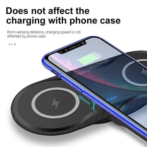 20W Fast Wireless Charger Desktop Charging Station Dual Qi For Samsung iPhone LG - Wireless Chargers