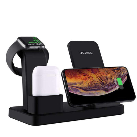 Image of 3 in 1 10W Fast Wireless Charger Charging Stand for iPhone Airpods Apple Watch - Wireless Chargers