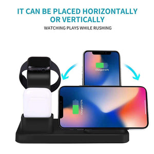 3 in 1 10W Fast Wireless Charger Charging Stand for iPhone Airpods Apple Watch - Wireless Chargers