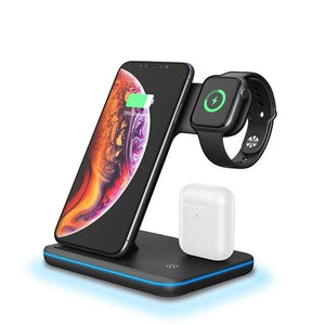 3 in 1 15W Qi Fast Wireless Charger For Apple iWatch AirPods iPhone Samsung - Black - Wireless Chargers