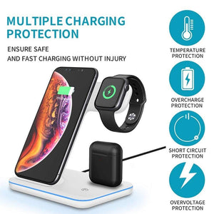 3 in 1 15W Qi Fast Wireless Charger For Apple iWatch AirPods iPhone Samsung - Wireless Chargers
