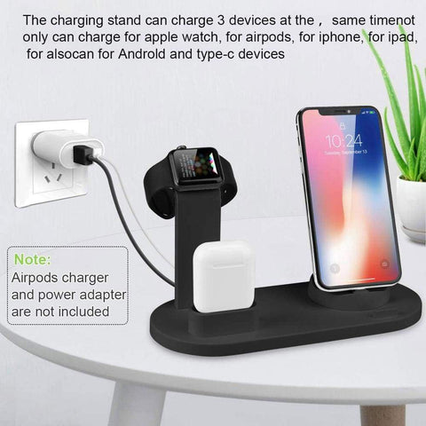 Image of 3 in 1 Charging Dock Station For iPhone X XR XS Max 8 7 6 Plus iWatch Airpods - Wireless Chargers