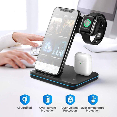 Image of 3 in 1 Qi 15W Fast Wireless Charger Stand For iPhone Samsung Apple Watch Airpods - Wireless Chargers