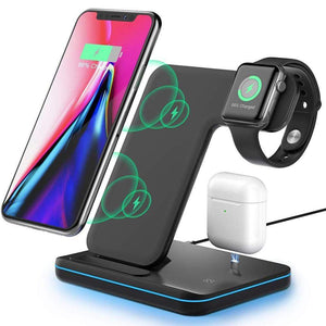 3 in 1 Qi 15W Fast Wireless Charger Stand For iPhone Samsung Apple Watch Airpods - Wireless Chargers