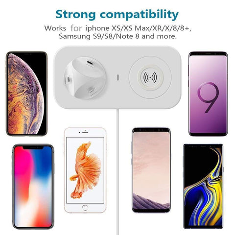 3 in 1 Qi Wireless Charger for iPhone Airpods iPad Samsung Xiaomi Redmi Huawei - Wireless Chargers