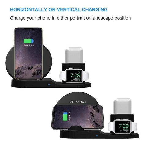 Image of 3 In 1 Wireless Charging Station For Apple Watch Airpods 10W Qi iPhone Samsung - Wireless Chargers