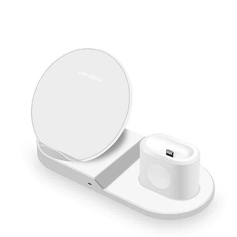Image of 3 In 1 Wireless Charging Station For Apple Watch Airpods 10W Qi iPhone Samsung - White - Wireless Chargers