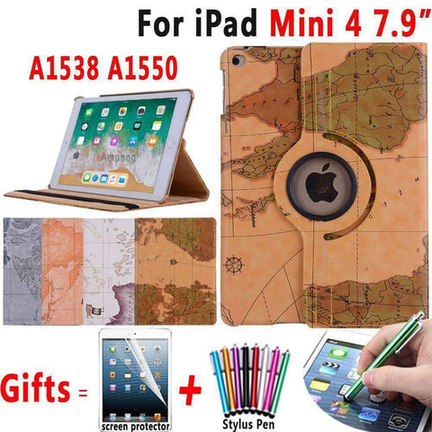 360 Degree Rotatable World Map Leather Smart Shell Cover Case for Apple iPad Mini 4 A1538 A1550 - Accessories