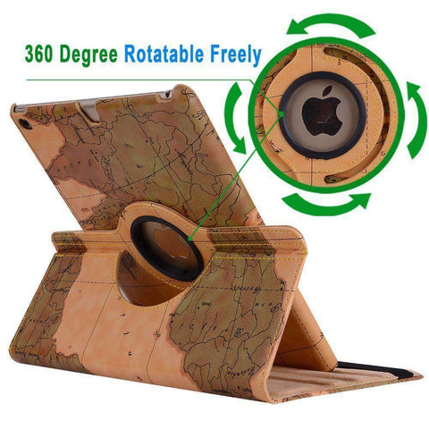 Image of 360 Degree Rotatable World Map Leather Smart Shell Cover Case for Apple iPad Mini 4 A1538 A1550 - Accessories