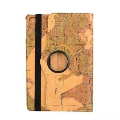 360 Degree Rotatable World Map Leather Smart Shell Cover Case for Apple iPad Mini 4 A1538 A1550 - Green - Accessories