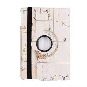 360 Degree Rotatable World Map Leather Smart Shell Cover Case for Apple iPad Mini 4 A1538 A1550 - White - Accessories