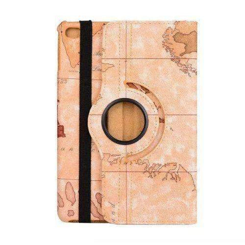 360 Degree Rotatable World Map Leather Smart Shell Cover Case for Apple iPad Mini 4 A1538 A1550 - Yellow - Accessories