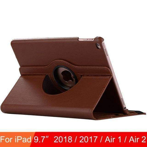 360 Degree Rotating Leather Case Cover for iPad Air 1 Air 2 iPad 5 iPad 6 - Brown - Accessories