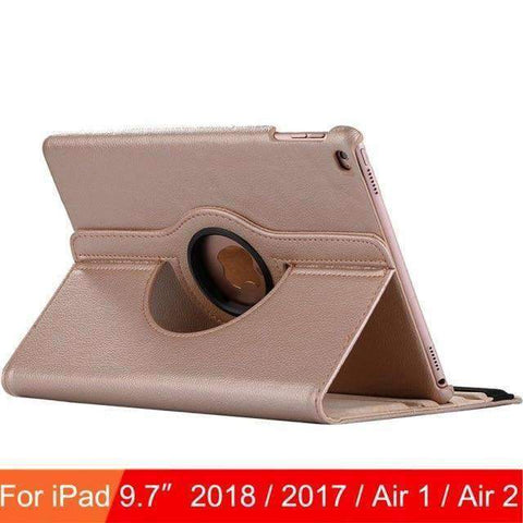360 Degree Rotating Leather Case Cover for iPad Air 1 Air 2 iPad 5 iPad 6 - Gold - Accessories