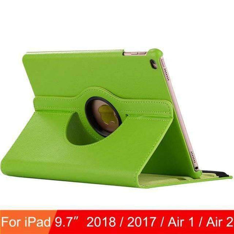 360 Degree Rotating Leather Case Cover for iPad Air 1 Air 2 iPad 5 iPad 6 - Green - Accessories
