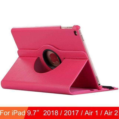 360 Degree Rotating Leather Case Cover for iPad Air 1 Air 2 iPad 5 iPad 6 - Hot Pink - Accessories