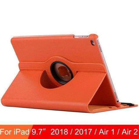 360 Degree Rotating Leather Case Cover for iPad Air 1 Air 2 iPad 5 iPad 6 - Orange - Accessories
