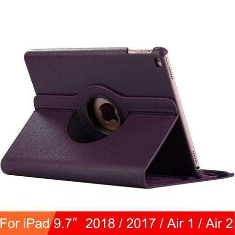 360 Degree Rotating Leather Case Cover for iPad Air 1 Air 2 iPad 5 iPad 6 - Purple - Accessories
