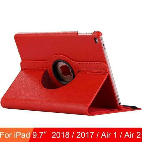 360 Degree Rotating Leather Case Cover for iPad Air 1 Air 2 iPad 5 iPad 6 - Red - Accessories