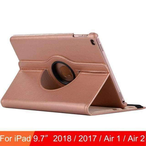360 Degree Rotating Leather Case Cover for iPad Air 1 Air 2 iPad 5 iPad 6 - Rose Gold - Accessories