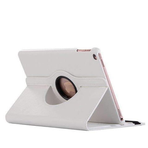 360 Degree Rotating Leather Smart Shell Cover Case for Apple iPad mini 4 iPad mini 5 A1538 A1550 - White - Accessories