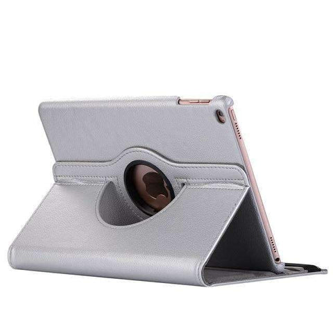 360 Degree Rotating Leather Smart Shell Cover Case for Apple iPad mini 5 A2133 A2124 A2125 A2126 - Silver - Accessories