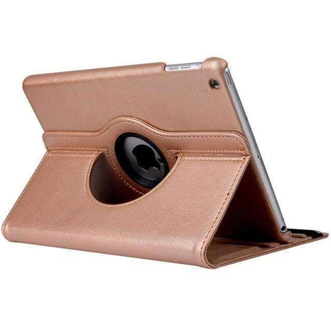 360 Degree Rotating Litchi Pattern Leather Smart Shell Case Cover for Apple iPad mini 1 2 3 - Gold - Accessories