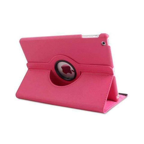 360 Degree Rotating Litchi Pattern Leather Smart Shell Case Cover for Apple iPad mini 1 2 3 - Hot pink - Accessories