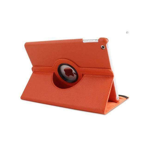 360 Degree Rotating Litchi Pattern Leather Smart Shell Case Cover for Apple iPad mini 1 2 3 - Orange - Accessories