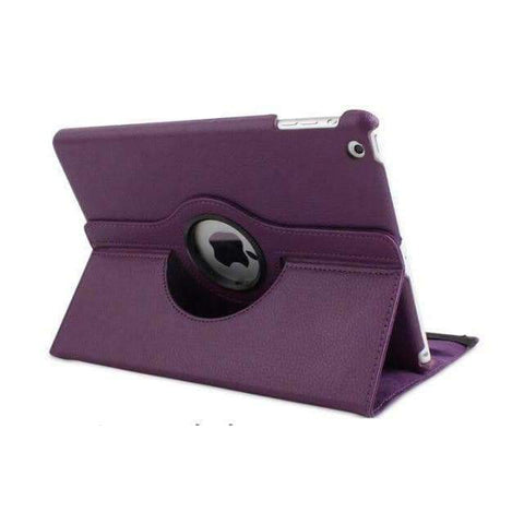 360 Degree Rotating Litchi Pattern Leather Smart Shell Case Cover for Apple iPad mini 1 2 3 - Purple - Accessories